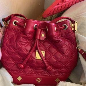MCM Red Handbag/ Crossbody Bag Authentic